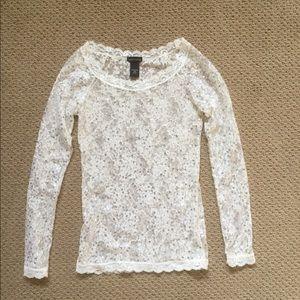 Victoria's Secret Lace Sequin Top Blouse White XS
